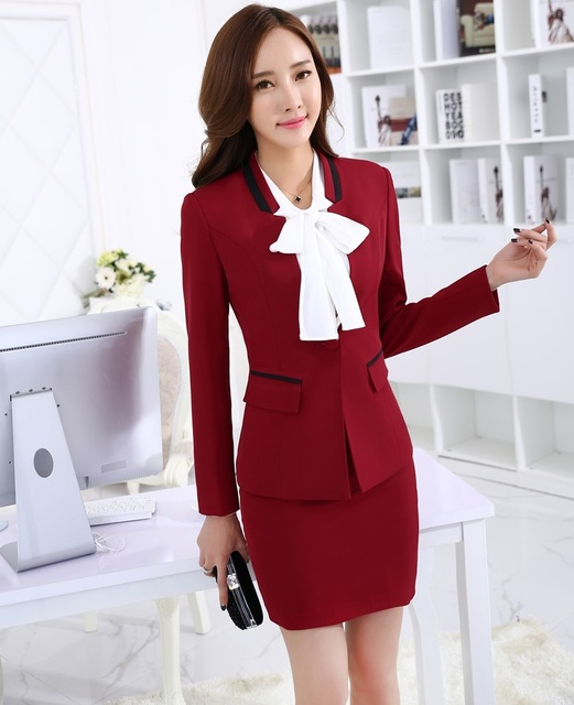 New Uniform Design 2015 Autumn Winter Long Sleeve Professional Business Women Suits Tops And Skirt Ladies Office Blazers Outfits
