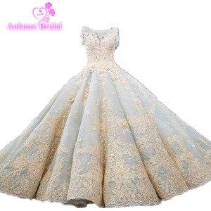 Image 1 - Vestido De Noiva De lujo De alta calidad con cuentas Vintage Vestido De fiesta vestidos De novia 2018 vestidos De novia Brautkleid azul menta