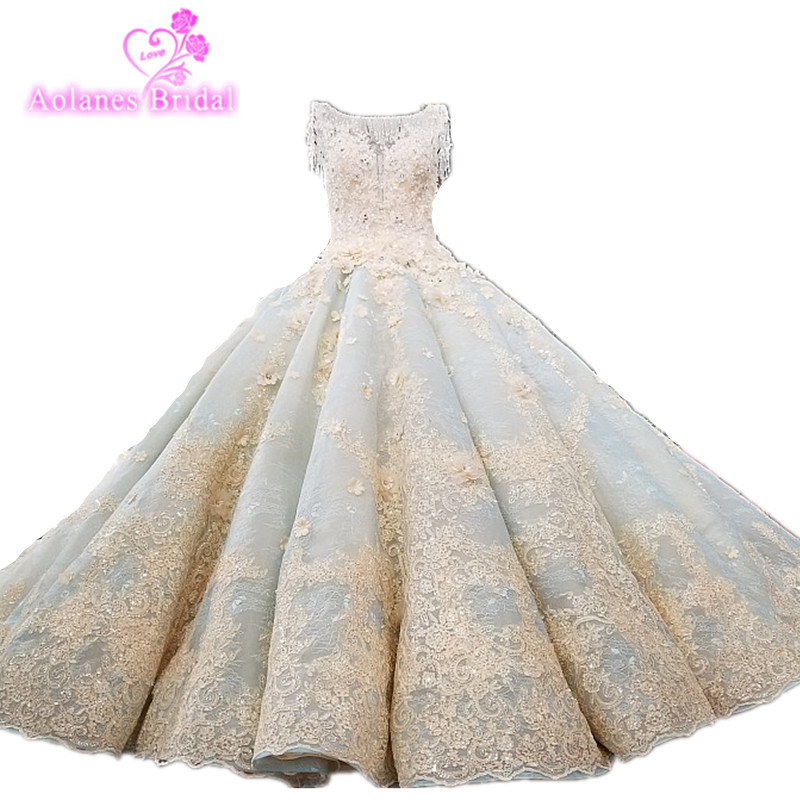 Vestido De Noiva Luxury High-grade Beaded Vintage Ball Gown Wedding Dresses 2019 Wedding Gowns Bride Dress Brautkleid Mint Blue