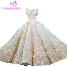 Купить с кэшбэком Vestido De Noiva Luxury High-grade Beaded Vintage Ball Gown Wedding Dresses 2018 Wedding Gowns Bride Dress Brautkleid Mint Blue