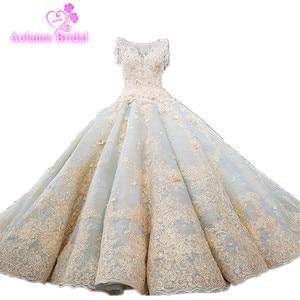 Image 1 - Vestido De Noiva luksusowe wysokiej jakości zroszony vintage kulka suknia ślubna suknie ślubne 2018 suknie ślubne suknia dla panny młodej Brautkleid mięta niebieski