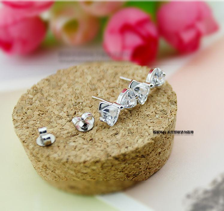 100 925 sterling silver fashion shiny crystal bowknot ladies stud earrings jewelry women Anti allergy drop shipping gift in Stud Earrings from Jewelry Accessories
