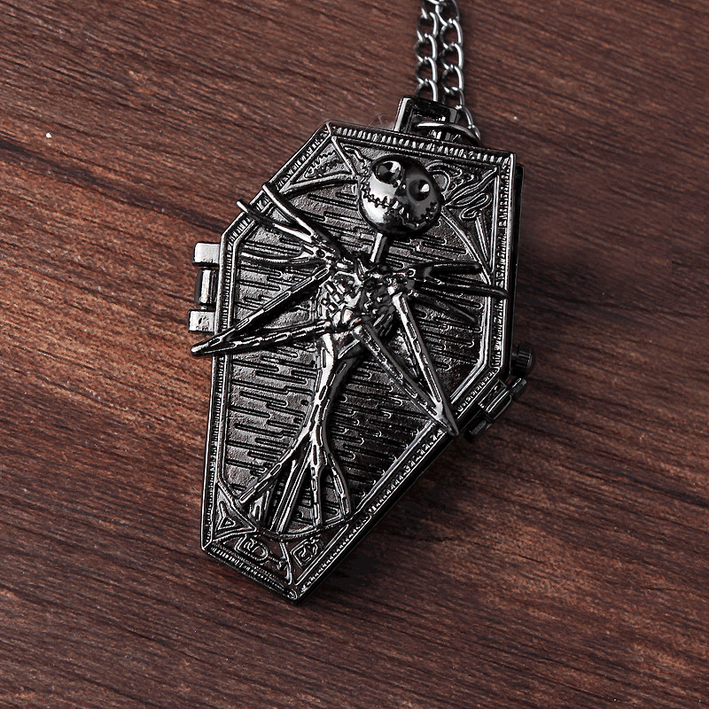New Arrival Black/ Silver Jack  Nightmare Before Christmas Necklace Pendant Pocket Watch Men Women Lady Best Gift P304-1