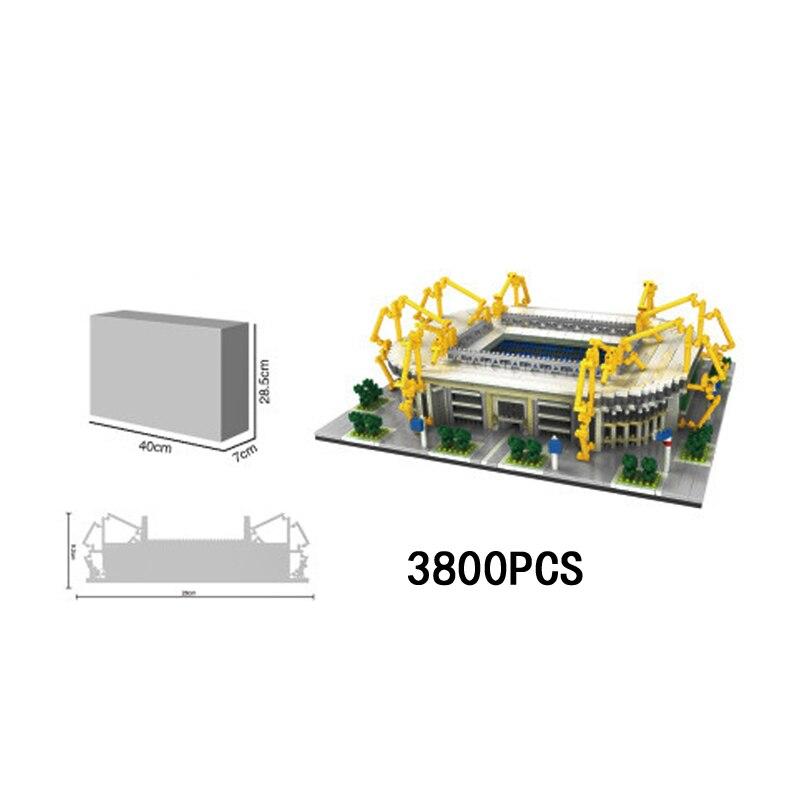 Alemania famoso Borussia Dortmund, campo de fútbol educativos nanoblock ignal Iduna Park Stadium micro diamante bloque de construcción de ladrillos de juguete