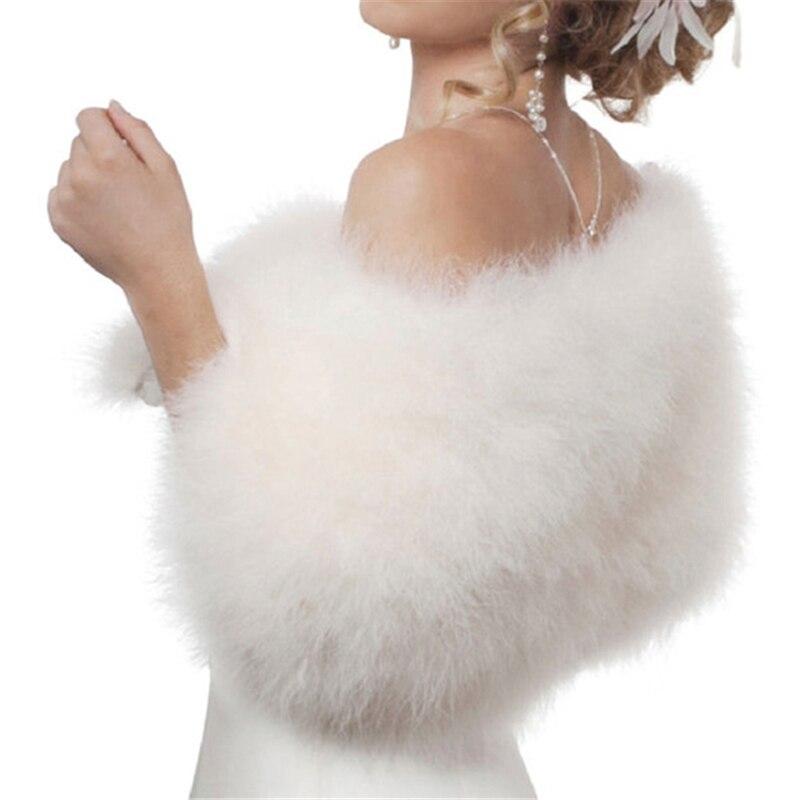 Luxurious Ostrich White Feather   Wrap   Bridal Fur Jacket Marriage Shrug Coat Bride Winter Wedding Party Fur bolero women chaqueta