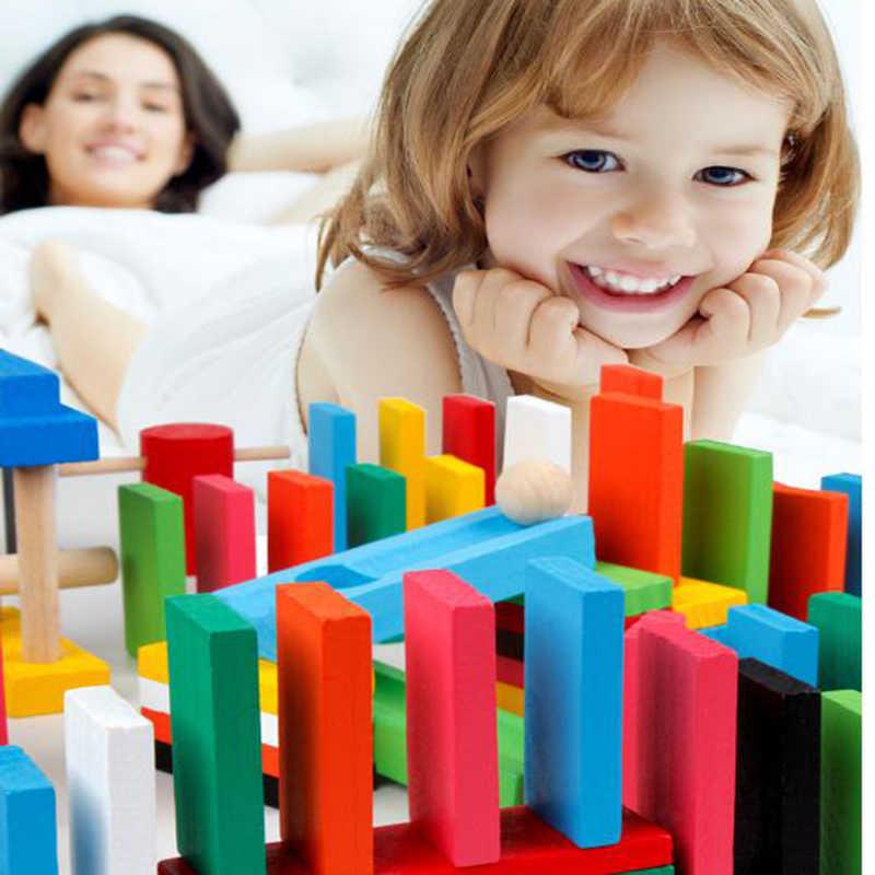 120 шт./компл. игрушки домино Детские деревянные игрушки Цветной Domino блоки Наборы раннего обучения домино обучающие игры Детские игрушки