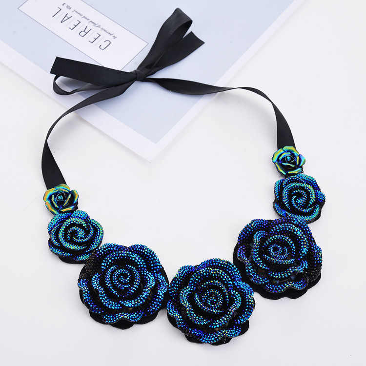 2015 New Fashion Jewelry Big Orange Resin Crystal Blue Flower Necklaces & Pendants Statement Bib Chunky Choker Collar Necklaces