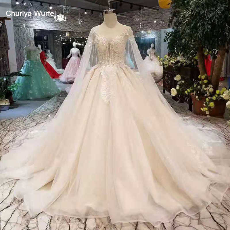 LSS284 light champagne wedding gowns with long cape illusion o-neck lace up back wedding dresses ball gown from real factory