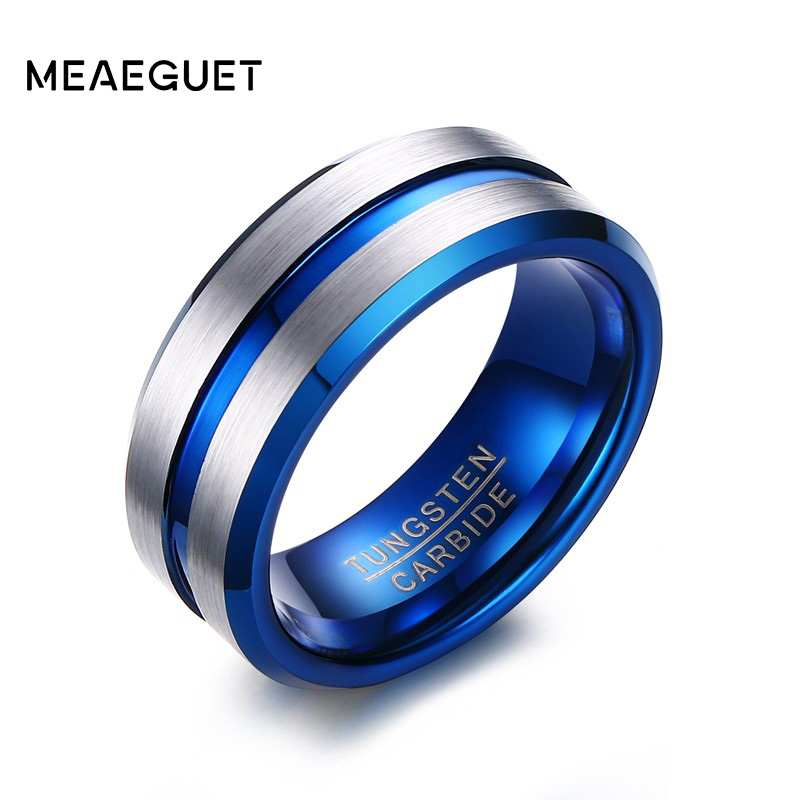 Meaeguet Classic Thin Blue Line Tungsten Carbide Wedding Bands Rings For Men 8MM Wide USA Size 8-12