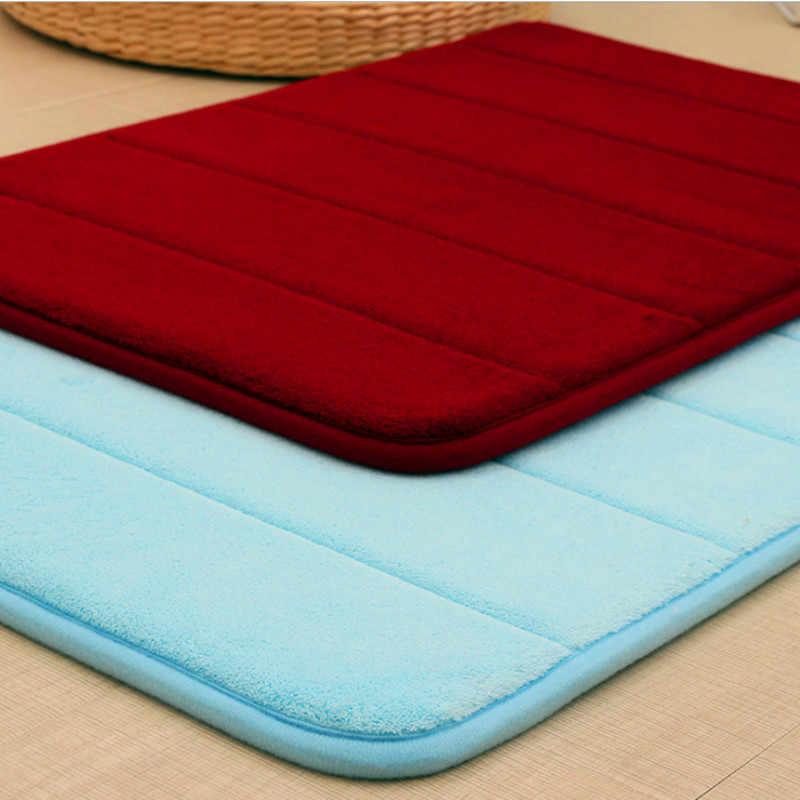 Коврик для ванной из кораллового флиса Memory Foam коврик для ванной комнаты кухонный дверной пол tapis de bain прямоугольные коврики
