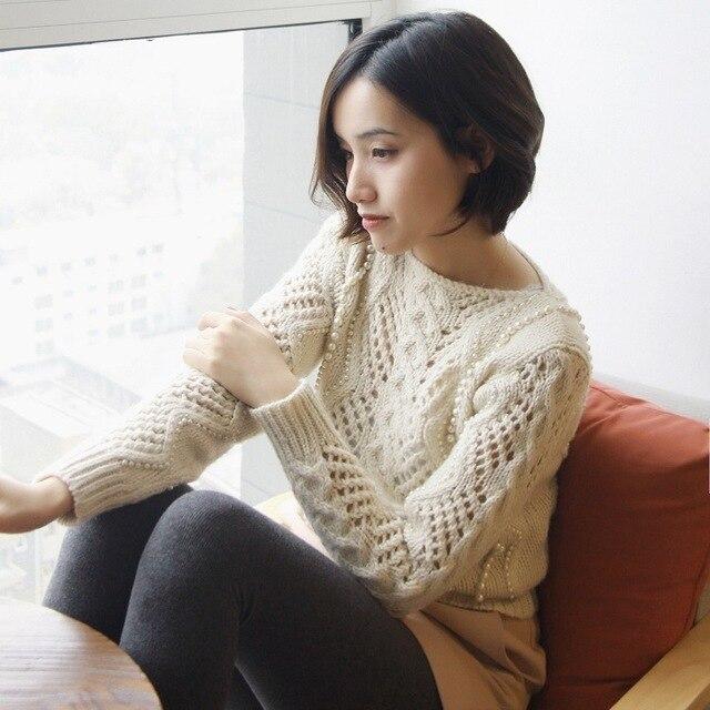 Perla abalorios suéter jumper para las mujeres 2018
