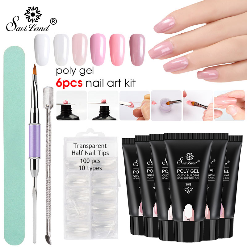 Low Price Saviland New Poly Gel Nails Kit 30g Uv Gel French Nails ...