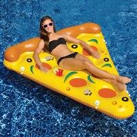 Promo 180*150 cm gigante inflable Pizza piscina flotador verano agua juguetes diversión al aire libre playa descanso tumbona aire colchón de balsa