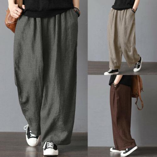 Fashion Men Plus Size Women Elastic Waist Soft Cotton Linen Long Pants Loose Wide Leg Pants Fit Casual Trousers