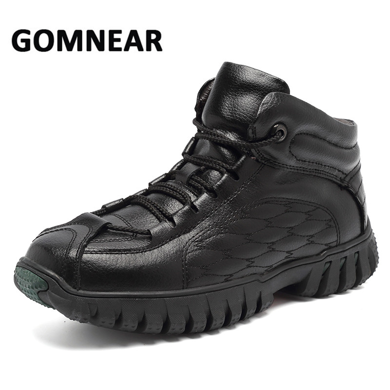 GOMNEAR 2017 Men's Outdoor Winter Sneakers With Fur Genuine Leather Hiking Shoes Big Size Comfortable Warming Climbing Shoes цена
