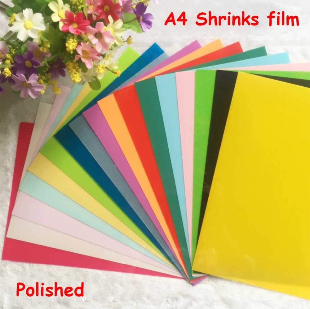 5pcs/lot DIY Magic Polished Shrink Plastic Sheet Clear Film Multi Color Educational Toys DIY decorative supplies