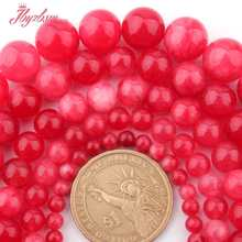"6,8,10,12mm Smooth Round Beads Ball Red Candy Jades Stone Beads For Necklace Bracelets Earring Jewelry Making 15"" Free Shipping(China)"