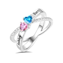 AILIN Engraved Heart Criss Cross Ring For Festival Customized Two Heart Birthstones Couple's Ring For Lady X Shape Ring