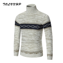TOLVXHP 2018 New Autumn Brand Clothing Men Sweater Stripe High Collar O-Neck Slim Fit Casual Pullover Men Sweaters Knitting Mens