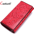 CONTACT'S Vintage Genuine Leather Long Women Wallets 3 Fold Embossing Coin Purse Multifunction Card Holder Clutch Dollar Price