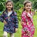 Crianças/crianças/meninas parka floral & marinha à prova de vento/à prova d' água trincheira, jaqueta de primavera/outono w velo lining, tamanho 98 a 146 F6