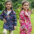 kids/children/girls floral parka & navy windproof/waterproof trench, spring/autumn jacket w fleece lining, size 98 to 146 F6
