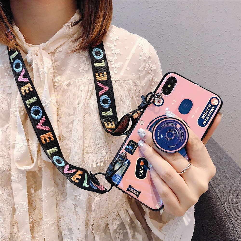Retro Camera Case For Samsung Galaxy A750 A70 A50 A30 M10 M20 A920 Soft Cover For Galaxy S8 S9 S10 Plus S7 A8s Case with Lanyard