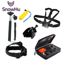 Gopro Accessories Kit Head Mount Strap+Chest Strap+Wrist Belt+Monopod+Floating Bobber + Box for Go proHero 4 3+ SJ xiaomi yiGS35