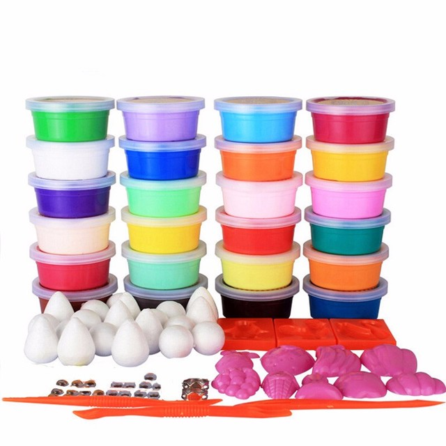 IMIWEI 24 Colors Intelligent plasticine Kids toys DIY Polymer Magnetic clay Soft Clay Blocks plasticine play up polymer clay