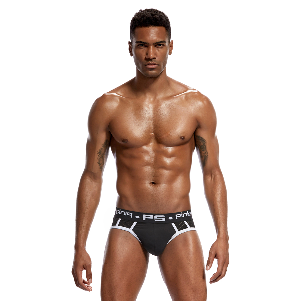 Pinky Senson Soild Bright Color Male Underpants Sexy Men Push Up Hips Mesh Underwear Briefs Men Underwear