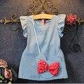 2 UNIDS/estilo coreano de la manera niños ropa de niño lindo de La Princesa Vestido de verano + arco bolsa de banda niñas boutique sistema de la ropa