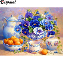 Dispaint Full Square/Round Drill 5D DIY Diamond Painting Flower tea set scenery Embroidery Cross Stitch Home Decor A11792