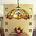 Подвесной светильник из витражного стекла в стиле ретро Тиффани-барокко  для ресторана  спальни  гостиной  коридора  крыльца