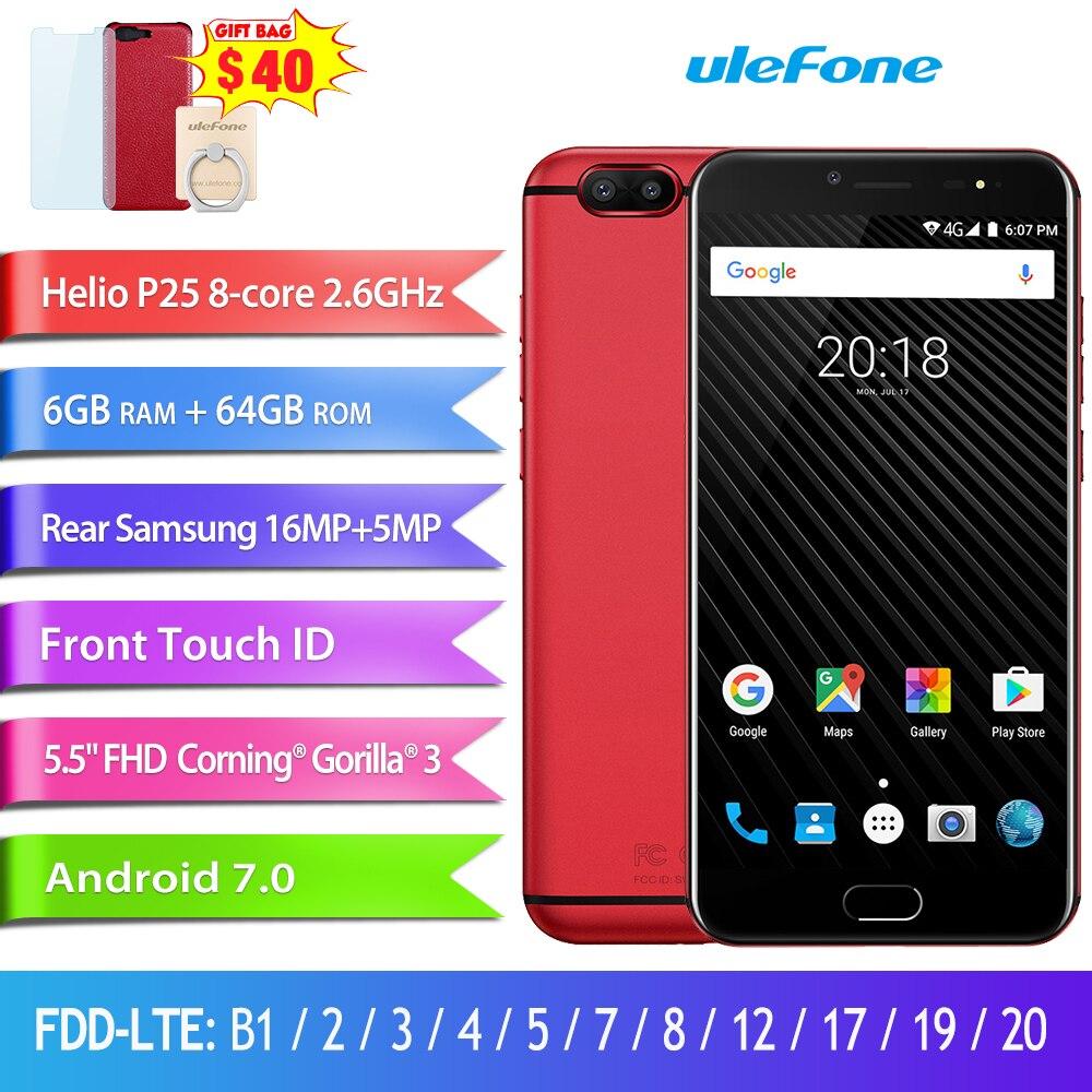 Ulefone T1 Двойная Камера 16MP+5MP Мобильный телефон 5.5 дюймов FHD helio P25 Octa core android 7.0 6 ГБ 64 ГБ Сканер отпечатков пальцев 4G телефон - 2