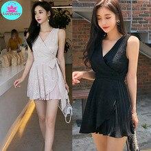 Women's 2019 summer new Korean temperament V-neck slim lace-up pleated fashion dress female Sleeveless  Sheath  Knee-Length lace up sheath dress
