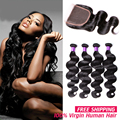 8A Peruvian Virgin Hair Body Wave With Closure Vip Beauty Hair With Closure Human Hair Weave 3 4 Bundles Deals With Lace Closure