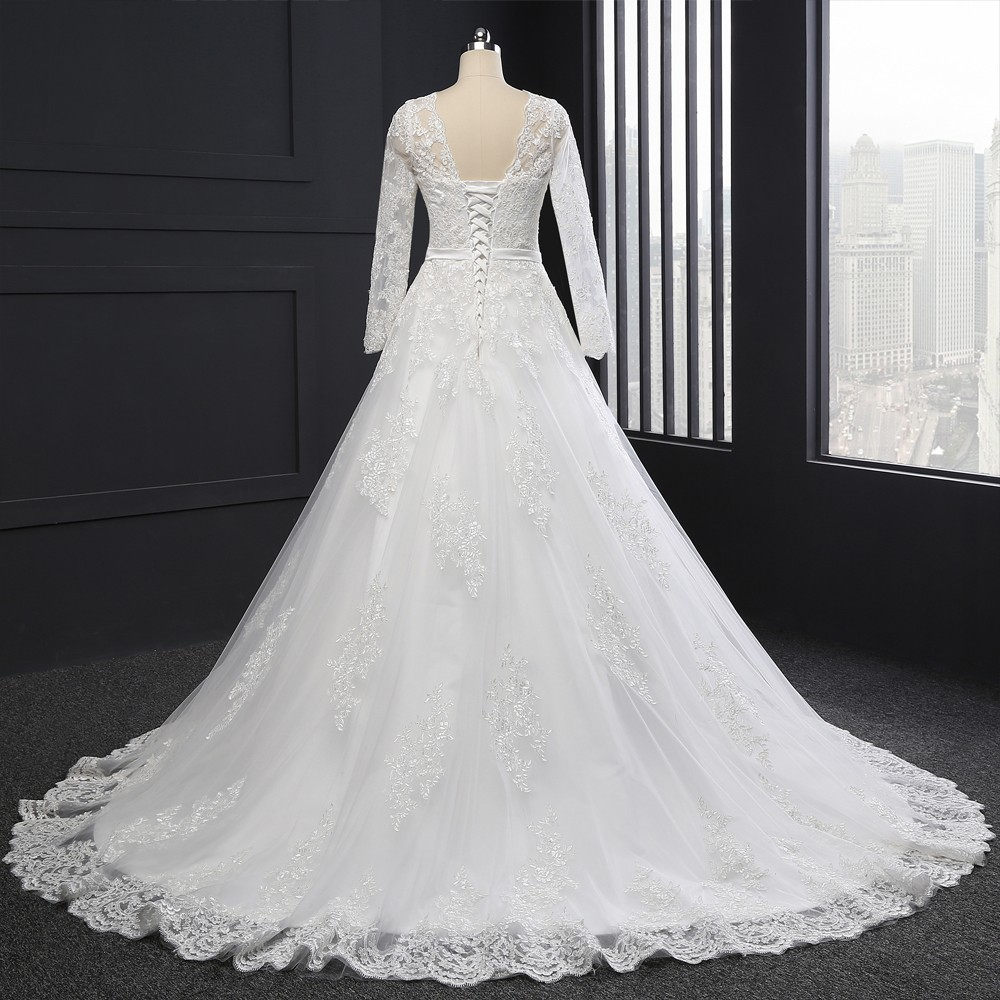 Vintage Long Sleeves Appliques A-line Wedding Dress