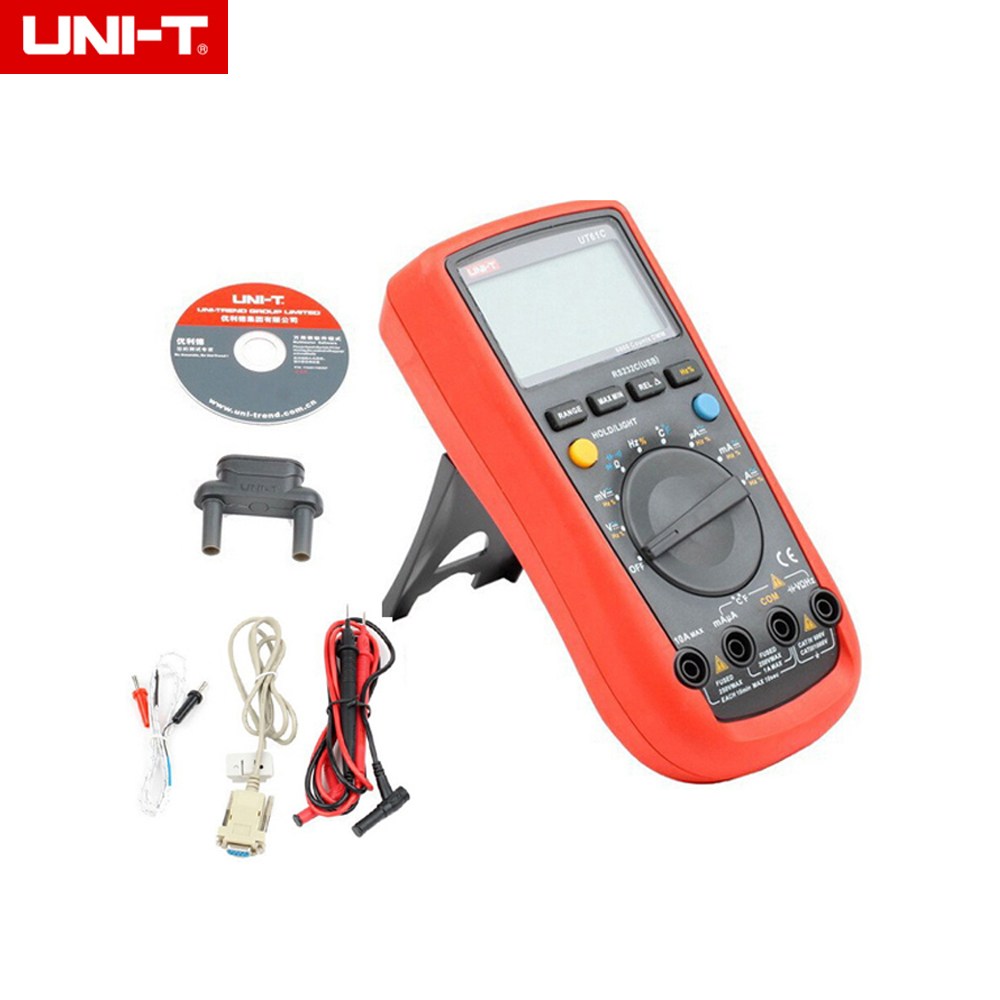 UNI-T UT61C Digital Multimeter AC/DC voltage current auto/manual range Meter backlight & RS232 uni t ut205 ture rms auto manual range digital handheld clamp meter multimeter ac dc voltage aca test tool