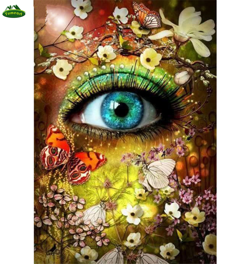 Diamond Painting Beautiful Women Eyes Cross Stitch Embroidery Butterfly and Flower Crystal Rhinestones Pictures Needlework