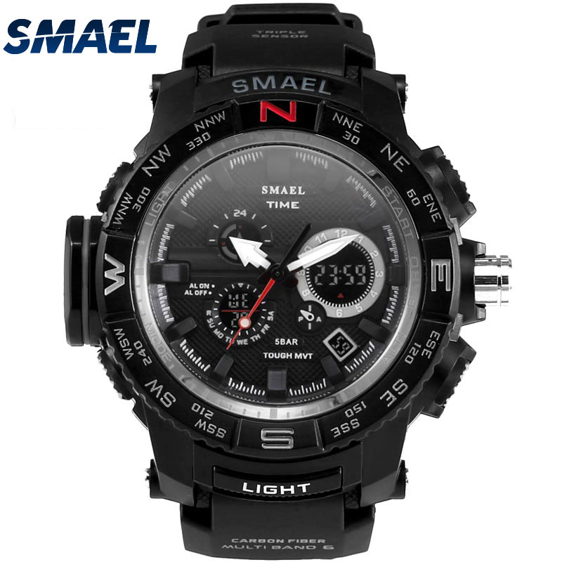 SMAEL Electronic Watch For Teenage LED Watch Wristwatch 50ATM Waterproof Young People Multi-functional Outdoor Clock Digital1531