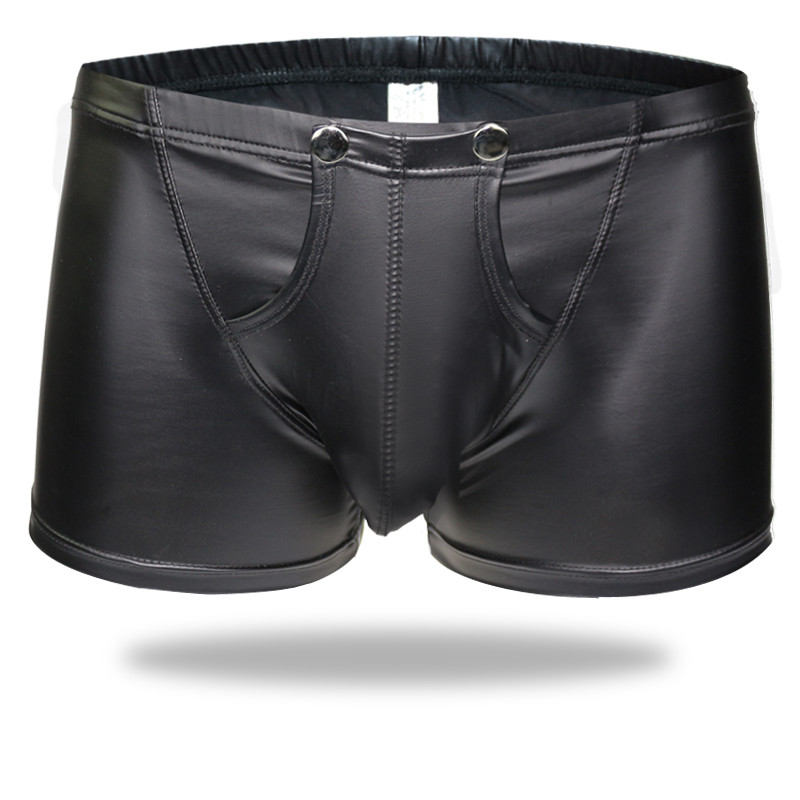 Sexy Lingerie Men Boxer PU Leather Black Boxer Shorts Erotic Open Fron