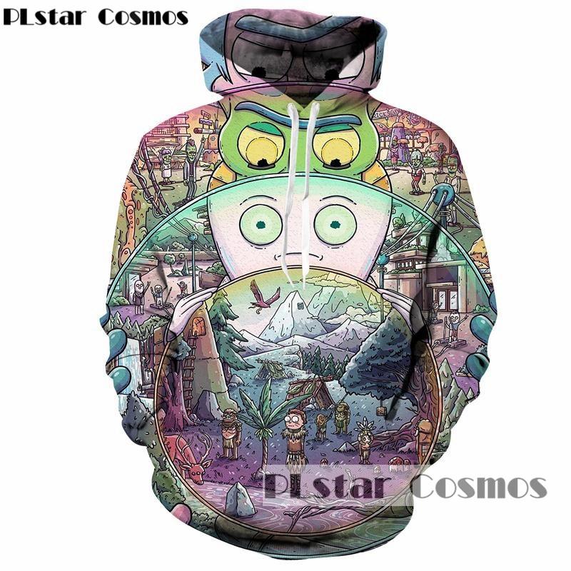 PLstar Cosmos Hot Cartoon Fashion Hoodies Men/Women 3d Sweatshirts Print Funny rick and morty Hooded Hoodies casual Sweatshirts
