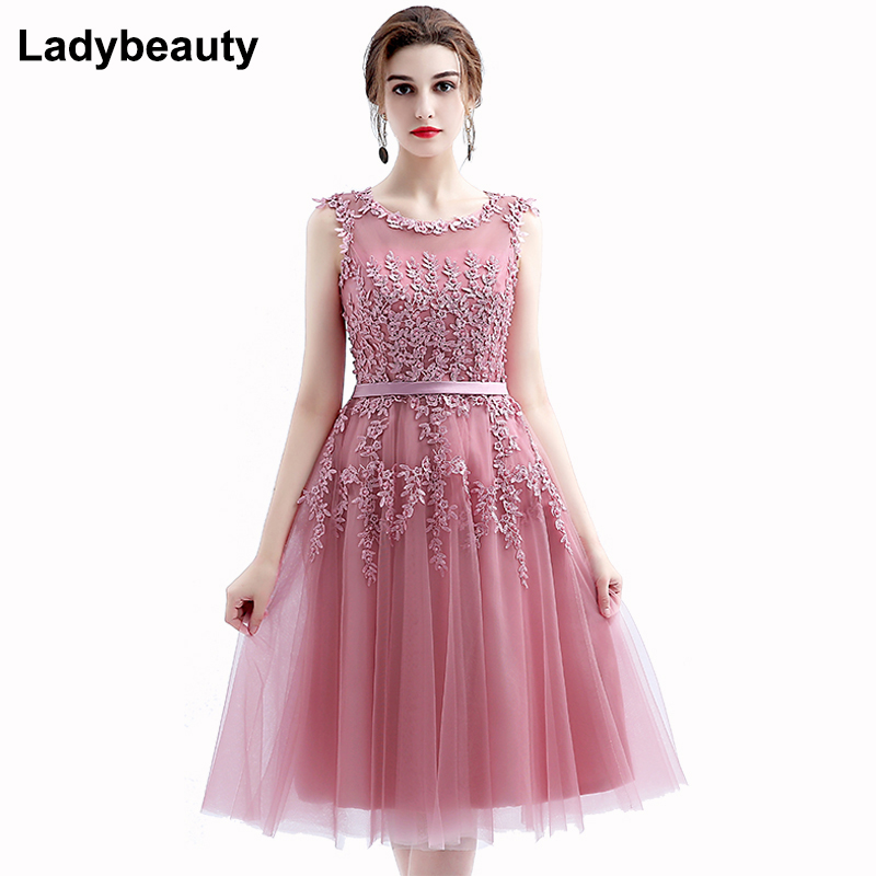 2017 Robe De Soiree New Wine Red Lace Embroidery Sleeveless A line Evening font b Dresses