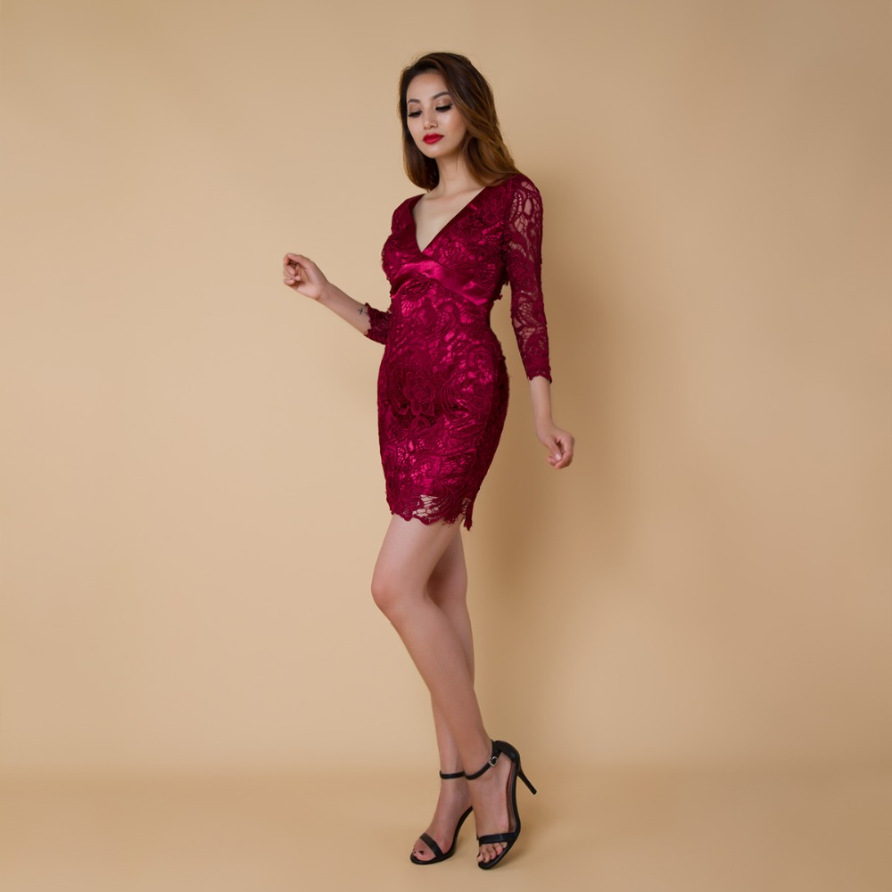 CAZDZY   Cocktail     Dresses   burgundy lace Short   Dresses   Elegant Mermaid v neck full sleeve 2018 Special Occasion   Dress