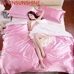 Image 5 - LOVINSUNSHINE parure de lit luxueuse, housse de couette et couette, ensemble de literie Double luxe en soie, AX05 #