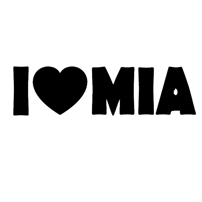 funny i love mia lettering abstract artwork car window sticker truck bumper auto door laptop kayak