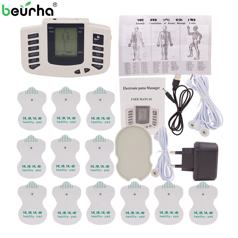 Electric Tens Massager Digital Acupuncture Therapy Slimming Body Relax Pulse Massager Massageador Electrod Pads Russian Button hot upgrades dual tens machine digital massage body massager relax and foot massager acupuncture massager 14pcs tens pad