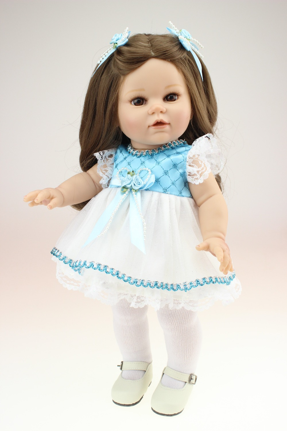 Full-Silicone-Baby-font-b-Doll Popular 40cm Sweet American Girl Doll With Brown Long Hair Realistic Full  Viniyl Silicone Reborn Baby