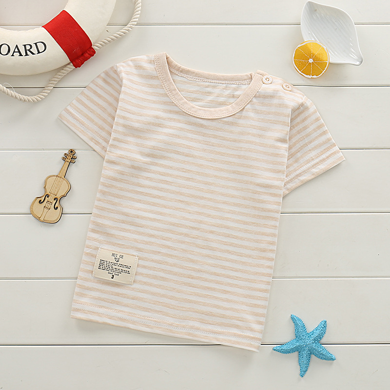 Boys Girls Cotton Stripe T-Shirts 3 Color Child Kids T Shirt Children 2018 Summer Children Tops Tee Cartoon Casual Print Clothes