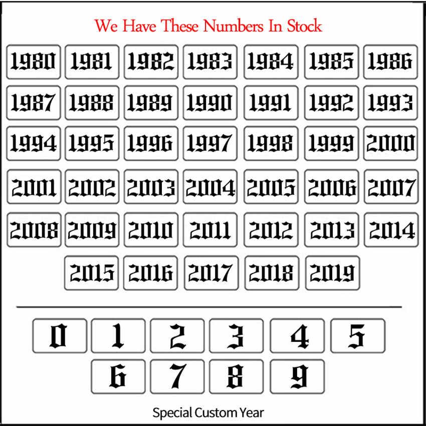 Personalizzato Anno di Nascita 2000 1990 1996 1997 Collana Old English Numero di Data di Collana In Acciaio Inox Catena di Aggancio Monili per il corpo e Piercing